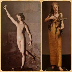 Слева: Архангел Гавриил. Начат в 1606. Высота 106 см. Музей Диосеано, Вальядолид, Испания. Справа: Педро де Мена (почти ровесник Пюже, младше на 8 лет). Кающаяся Мария Магдалина. Крашеное дерево. Высота 165 см. Национальный музей скульптуры в Вальядолиде (в настоящее время в Прадо), Испания