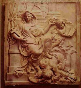 Жан Арди (годы жизни 1653-1737). Религия, поражающая ересь. 1688. Мрамор. Барельеф 81х76 см. Ангел держит книгу Истины, внизу ересь и раскол держит свои атрибуты