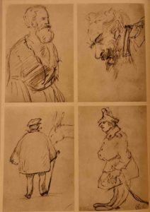 Рисунки Льва Толстого в кавказской записной книжке. 1852 г. Старик. Голова старика. Мужская фигура с осликом. Фигура военного.