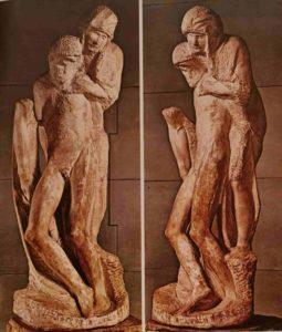 Микеланджело. Пьета Ронданини. 1552–1564. Милан. Кастелло Сфорцеско. Рубил до самой смерти. Видна оставшаяся от предыдущего варианта более крупная рука