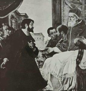 А.Фонтебуони. Микеланджело в Болонье представляется папе Юлию II