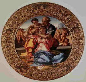Микеланджело. Мадонна Дони. Темпера на дереве. Галерея Уффици. Примерно 1504-1507 годы