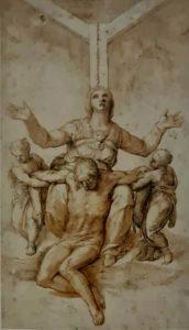 Пьета. Вариант эскиза для надгробия Виттории Колонны, любимой женщины Микеланджело, умершей в 1447