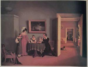 Ф.П.Толстой. Семейный портрет. У коридора одна точка схода параллельных прямых, а у самого семейства эта точка схода левее