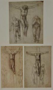 Эскизы распятия. Около 1560 ( Микеланджело 85 лет)