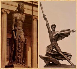 Слева: Бурдель. Победа. Для памятника генералу Альвеару в Буэнос-Айресе. 1912-1923. Справа: Адольф Вампер. Гений победы. 1940