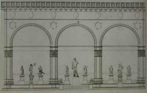 Паскуале Поччанти. Вид лоджии Орканьи (Ланци) с «Давидом». 1853