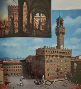 Площадь Синьории во Флоренции. Слева «Фонтан Нептун» ученика Микеланджело Бартоломео Амманати, в центре «Давид», справа «Геркулес и Какус» Бандинелли, соперника Микеланджело