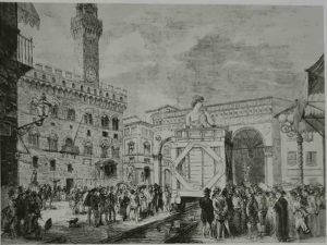 Перевозка «Давида» 18 июля 1874 с площади Синьории в музей Академии художеств во Флоренции