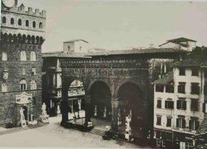 Фото 1851 г. Площадь Синьории во Флоренции. Давид под навесом