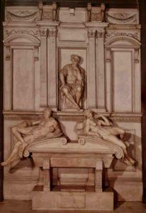 "Микеланджело. Лоренцо Медичи, герцог Урбинский. Слева под ним мужчина ""Вечер"". Справа дама ""Утро"""