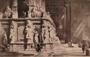 Ледовико Погляги. Идеальная реконструкция надгробия Юлия II. Место нахождения неизвестно. Здесь и Моисей, и Рабы, и Победа, только вот Скорчившегося мальчика не видно