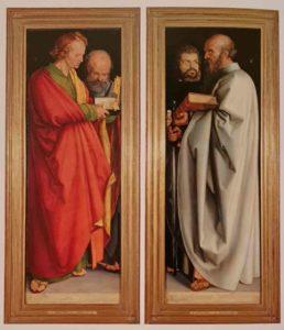 Дюрер. Четыре апостола. 1526 г. Старая пинакотека. Мюнхен. Слева направо: Иоанн – сангвиник, Петр – флегматик, Марк - холерик, Павел – меланхолик