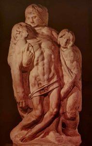 Микеланджело. Пьета Палестрина. 1555. Галерея Академии. Флоренция. Попала в музей Галереи Академии в 1939 из капеллы палаццо Барберини в городе Палестрине (Италия)