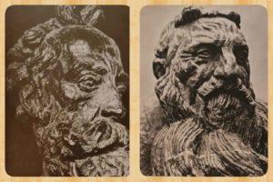 Слева: Бурдель. Портрет скульптора Карпо с рожками. 1909 г. Карпо – прекрасный скульптор в отличие от Родена, так зачем же и ему рожки? . Справа: Бурдель. Роден. В виде «Моисея» с рожками